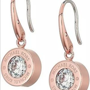 ROUND BRILLIANT ROSE GOLD BEVEL SET CRYSTAL DANGLE